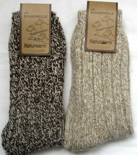 2 PAIRES CHAUSSETTES 70/% laine maille épaisse de beige et marron 39 à 46