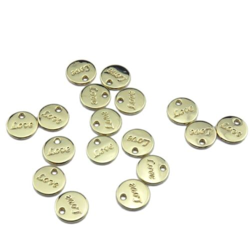 21353 16pcs Gold Plated Alloy Round Love Pendant Fit Earrings Lead Nickel Free