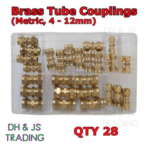 Assorted Box of Brass Tube Couplings Metric Straight Connectors 4 5 6 8 10 12