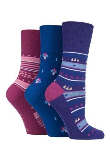 Ladies 3 Pairs Gentle Grip Diabetic Better Circulation Non Elastic Cotton Socks