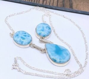GENUINE-NATURAL-Dominican-Larimar-Necklace-Pendant-925-Sterling-Silver-P81
