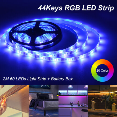 Dimmable LED Light Strip 2m SMD Remote Control 44 Key Battery Power Box LD2119