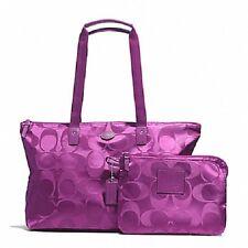 Nwt Coach Getaway Signature Nylon Packable Weekender Tote Bag Set F77321 Violet