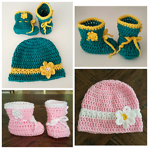 Hand-crochetted-baby-infant-autumn-winter-booties-socks-shoes-WITH-Beanie-set