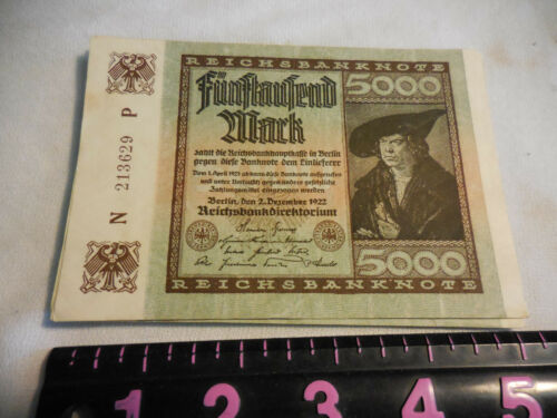 German Weimar 5000 Mark Banknote 2 December 1922 Hyperinflation,Circulated