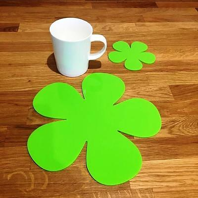 Daisy Shaped Lime Green Gloss Finish Acrylic Placemats Sets of 4 24cm 6 or 8