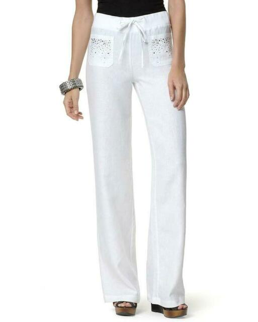 7dad32840820 INC Size 8 Womens Linen Pants White Embellished Wide Leg Drawstring NWT $69