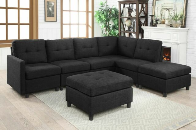 7 Pcs Sectional Modern Sofa Set Couch Microsuede Reversible Chaise Ottoman