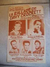 Partitura La balada de Davy Crockett Annie Cordy Jacques Hélian Lucien Jeunesse