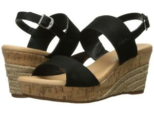 c5880f94f34 Details about NIB by UGG Australia ELENA II METALLIC Black Leather Wedge  Sandals Women's Sz 5