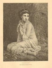 Mythology, Salmacis, Nude, Idle Vanity, Rapist, Vintage, 1878 Antique Art Print,