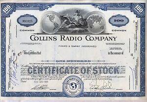 Collins-Radio-Company-Stock-Certificate-Rockwell-Cedar-Rapids-Iowa-Blue