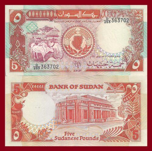 cattle plant Sudan P45 UV /& WM 5 Pounds UNC map // Central Bank building