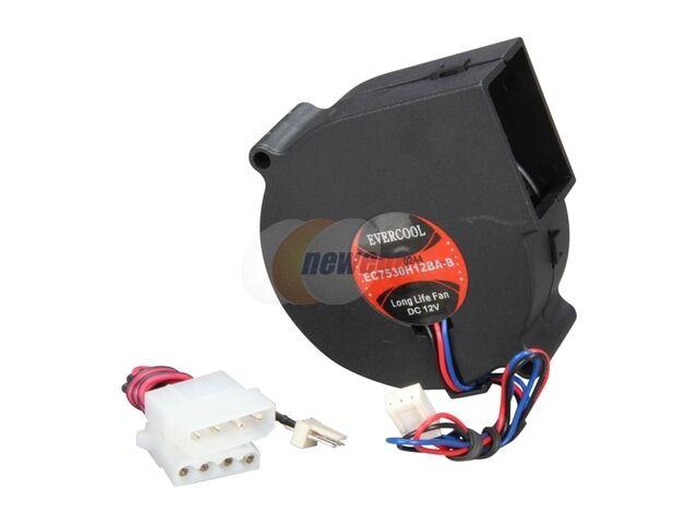 Evercool EC7530H12BA-B 75mm x 30mm 12V Dual Ball Bearing DC Blower Cooling Fan