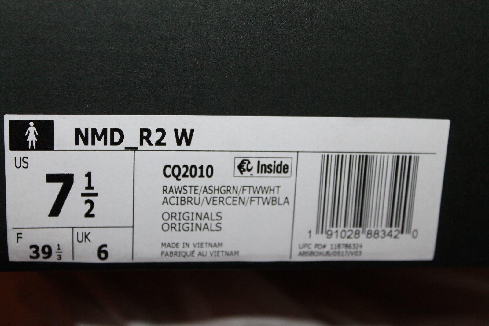ADIDAS Originals NMD_R2    Raw Steel  Ash Green White CQ2010 Women's Tennis shoes 41ce42