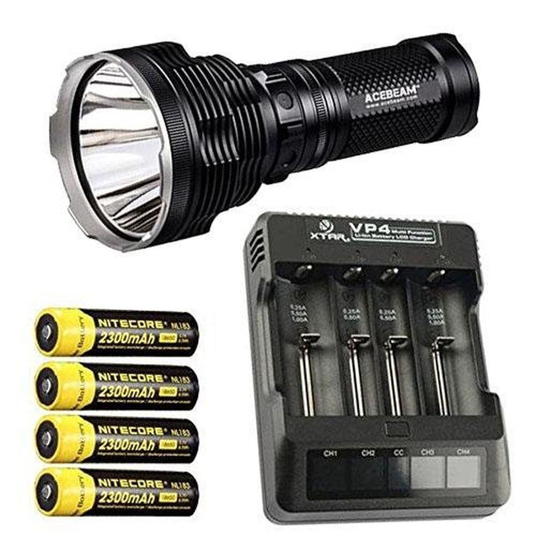 Bundle  Acebeam K70 Flashlight XHP35 HI LED -2600Lm w Xtar VP4 Charger & 4x N...