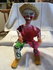 VINTAGE-PUPPET-MEXICAN-MAN-STRING-MARIONETTE-DOLL-14-Wood-Body-Plastic-Head