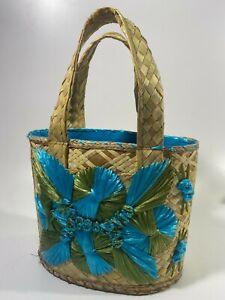 VTG 60s WOVEN Straw Wicker Basket SOUVENIR Shoulder Tote Purse Bahamas
