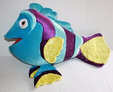 "Blue Purple Plush TROPICAL FISH Big 19"" Striped Stuffed Animal Pink Eye Soft Toy"