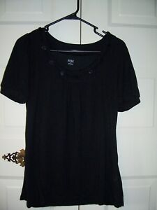 a-n-a-women-039-s-black-short-sleeve-top-w-buttons-at-neck-size-Large