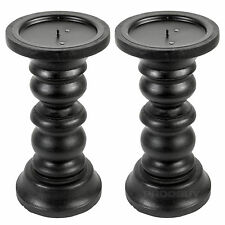 2 x 20cm Black Wooden Candle Sticks Holders Vintage Carved Pillar Church Rustic
