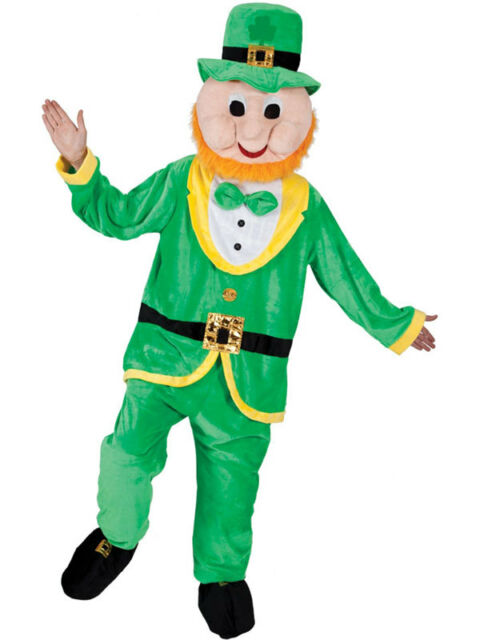 Adult Deluxe Lucky Leprechaun Mascot Marathon Fun Run Fancy Dress Party Costume