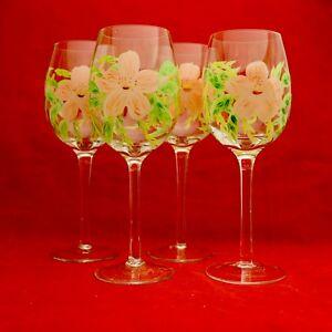4 Beautiful Hand Painted Plink Flower Floral Wine Glasses Ebay