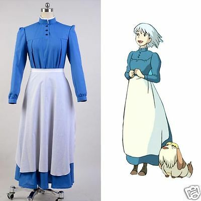 Howls Moving Castle Sophie Hatter Cosplay Costume Maid Dress Outfit Gown Attire