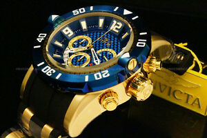New-Invicta-Men-039-s-Pro-Diver-50-MM-Chrono-18K-Gold-Plated-Blue-Dial-SS-Poly-Watch