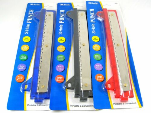 Bazic 3 Hole Paper Punch w// Ruler School Office Work Assorted Colors NEW 3202