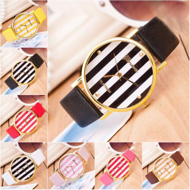 New GENEVA Band Fashion Gold Useful Special Striared Watches Women's Wrist Watch