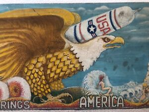 🔥 Antique Mid Century Modern Atomic California American Folk Art Oil Painting