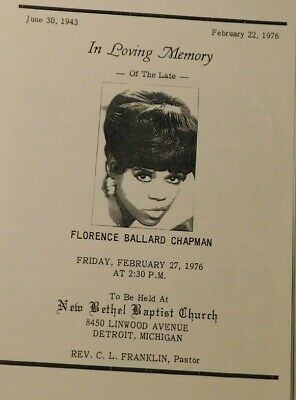 Supremes Florence Ballard repro funeral program 1976 ...