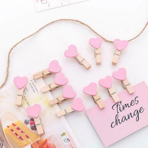 Photo Paper Clip Mini Wooden Wedding Decor Clip Crafts Love Heart Pegs Fast