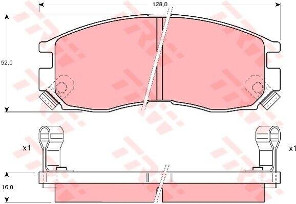 Bremsbelagsatz Scheibenbremse TRW GDB1128 vorne hinten für HYUNDAI SANTAMO 2.0 4