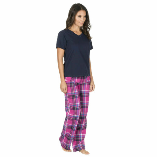 Womens Ladies Short Sleeve Pyjama Set Cotton Flannel PJ Top /& Checked Bottoms