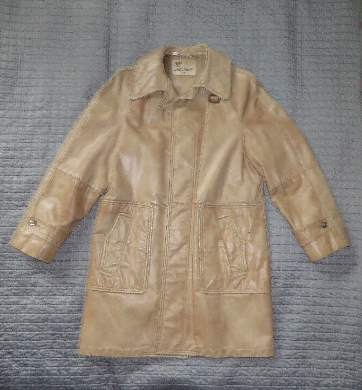Vintage 70's Lakeland Men's Leather Trench Coat, Size 40