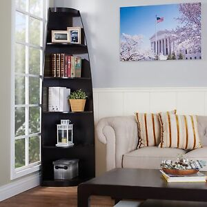 Dark Brown Corner Display 5 Shelf Bookcase Home Living Room Furniture Storage