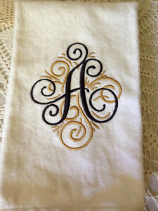 Details About Embroidered Monogrammed Personalized Hand Or Kitchen Towels Set Of 2 New