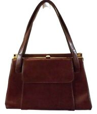 Women's Handbag Purse Brown Vinyl Shoulder Bag Large VTG Mad Men style