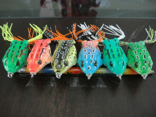 New Frog Lure Bass Fishing Hooks Bait Tackle 5.5cm Topwater 6pcs Soft!