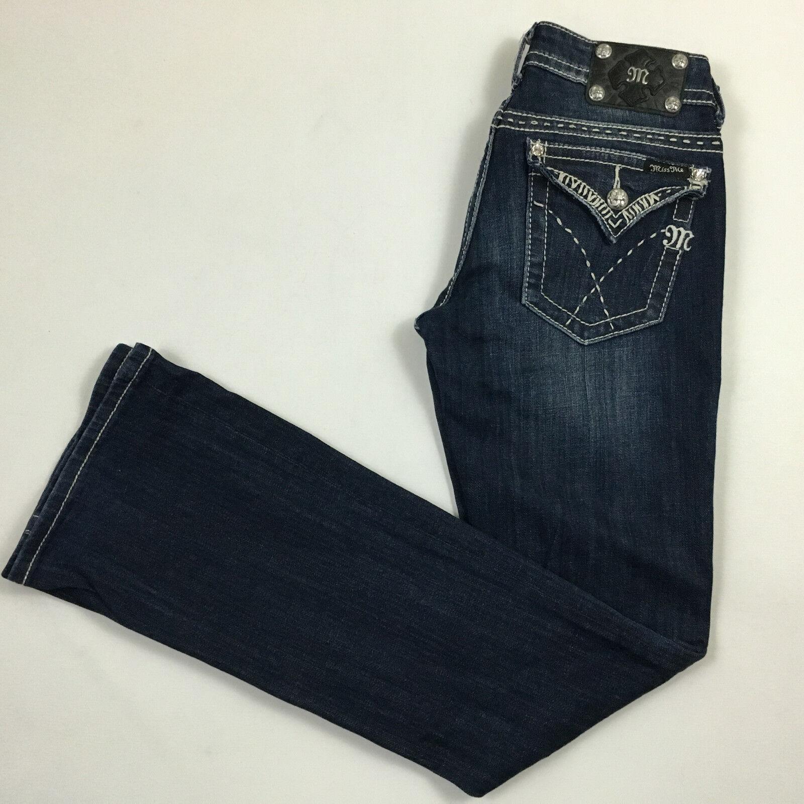 MISS ME womens 27x33 jeans BOOTCUT JW5180B faux diamonds whiskered dark bluee