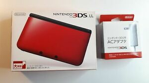 Nintendo 3DS LL Red Handheld Console boxed Japan import system w/ Charger CIB !!
