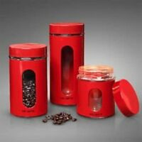 Gibson 3 Pc Red Canister Set, New, Free Shipping