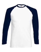 61028 Fruit of the Loom Mens Long Sleeve Baseball Cotton T-Shirt Tee Size S-2XL