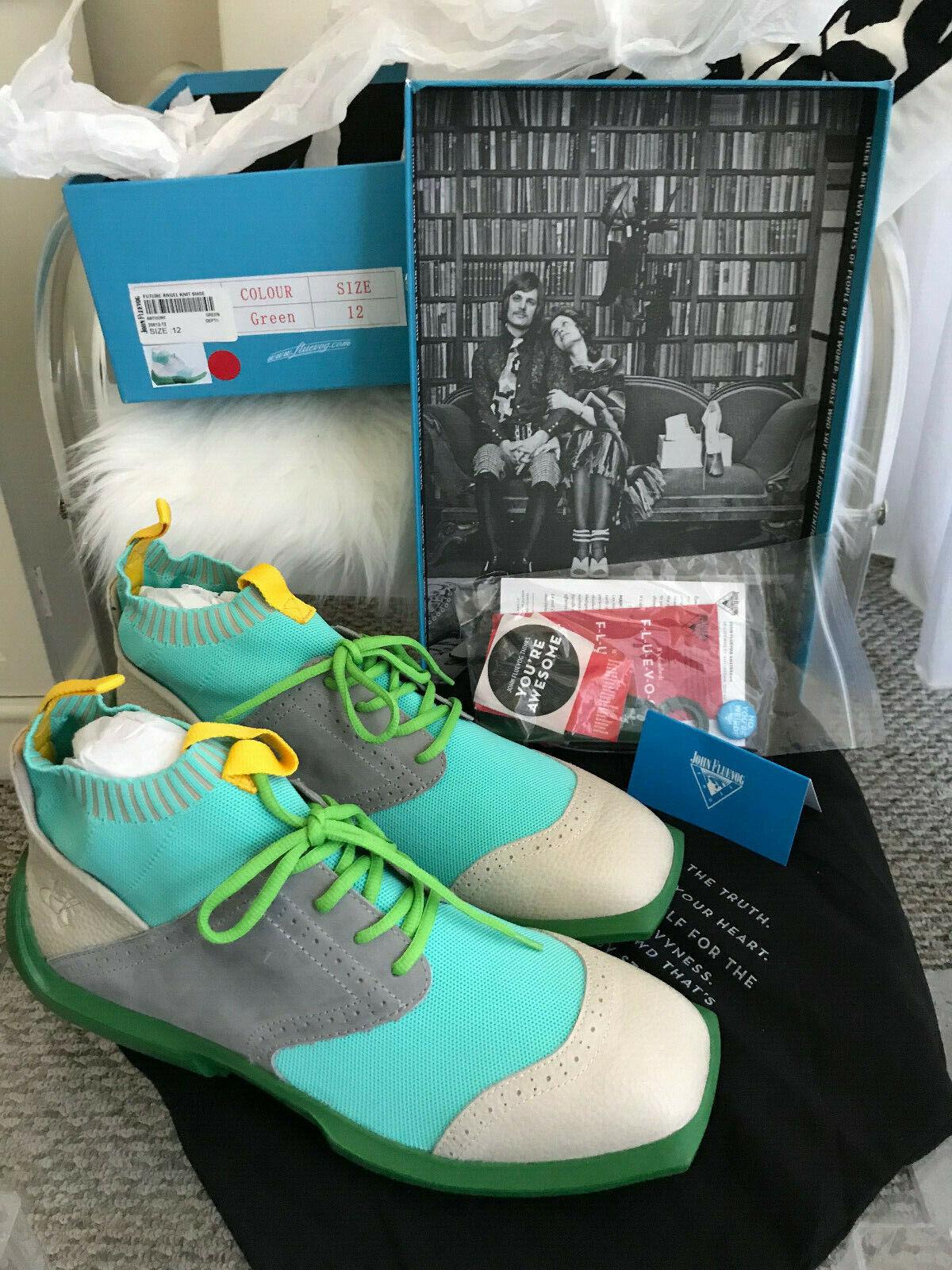 John Fluevog future angel knit scarpe scarpe da ginnastica verde Dimensione 12 NIB