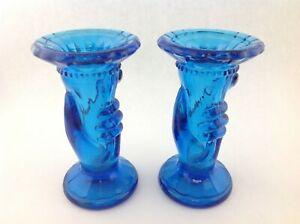 Pair-of-Vintage-Blue-Art-Deco-Glass-Hand-Holding-a-Vase-Horn-Cornucopia-4-034-tall