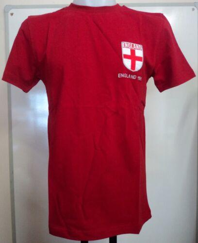 England 1966 S//S Rosso Retrò Grandi T-Shirt Taglia Large Uomo Nuovo di Zecca