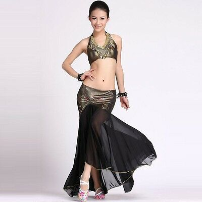 Belly Dance Costume Peacock Top Fishtail Skirt 9 Colors