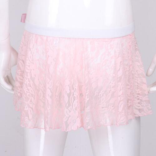 Mens Sheer Lace Mini Skirt See Through Mesh Short Skirt Crossdress Fancy Dress